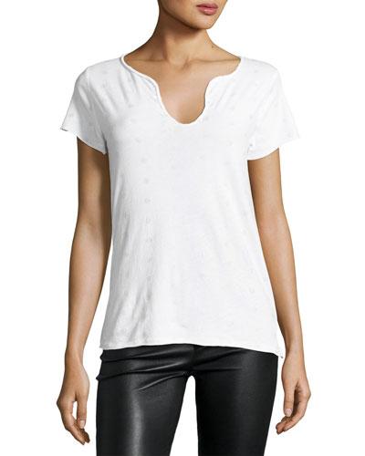 Tunsisien Ao Dots Henley T-Shirt, White