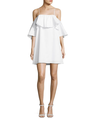 Marise Cold-Shoulder Ruffle Dress, White
