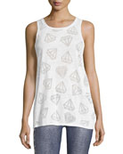 Diamond Burnout Racerback Muscle Tee, White