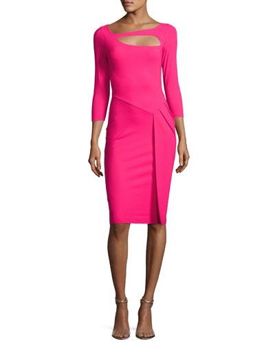 Sunny 3/4-Sleeve Cutout Cocktail Dress, Fuchsia