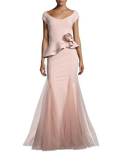 Lady Cap-Sleeve Peplum Mermaid Gown, Pink