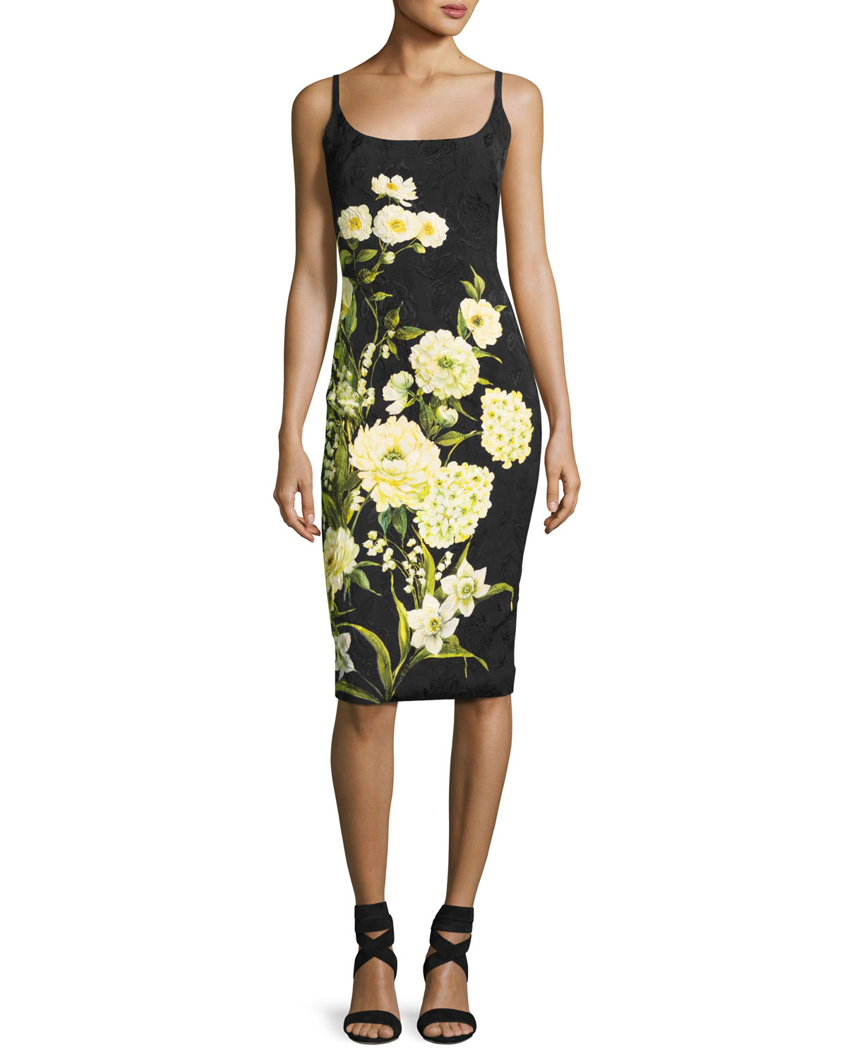 Sleeveless Floral Cocktail Dress, Black