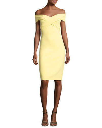Off-the-Shoulder Sweetheart Cocktail Dress, Yellow