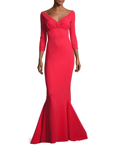 Guinevere Long-Sleeve Mermaid Gown, Red