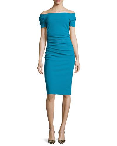 Briseide Off-the-Shoulder Cocktail Dress, Blue