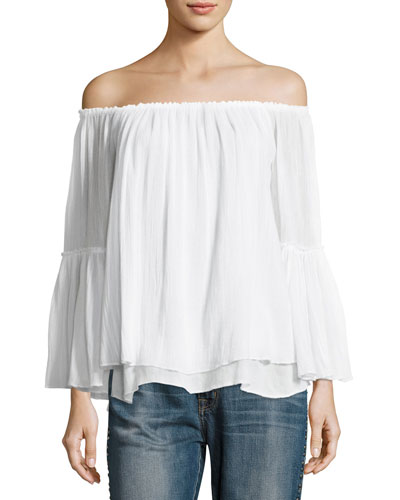 Bahama Off-the-Shoulder Layered Top, White