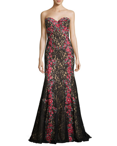Strapless Embroidered Floral Lace Gown, Black/Multicolor