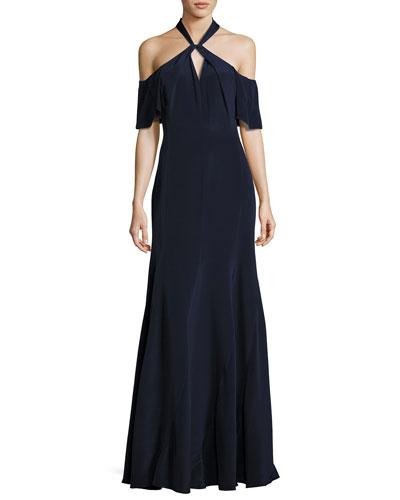 Gayle Cold-Shoulder Silk Crepe de Chine Gown