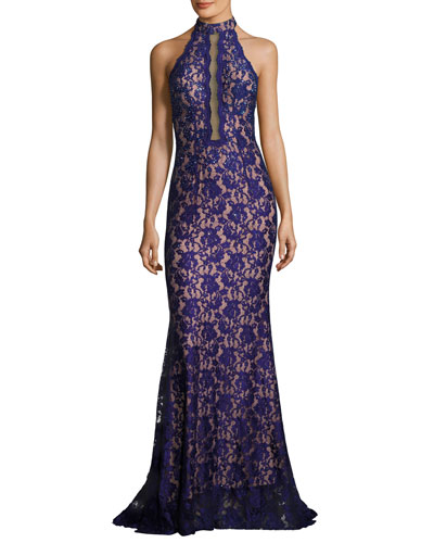 Embellished Lace Halter Gown, Royal