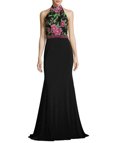 Sleeveless Floral Beaded Mermaid Gown, Black/Multicolor