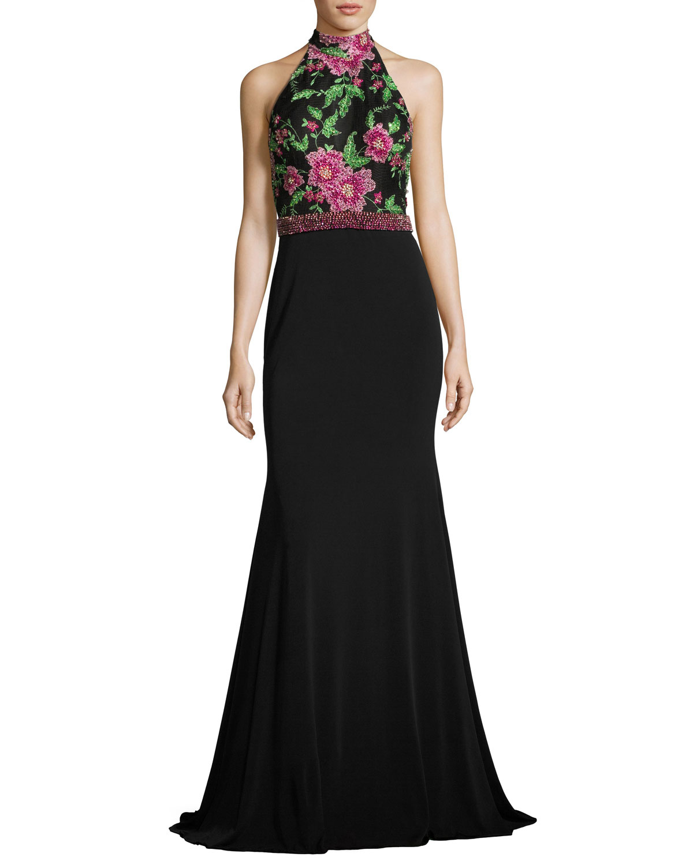 Sleeveless Floral Beaded Mermaid Gown, Black/Multicolor