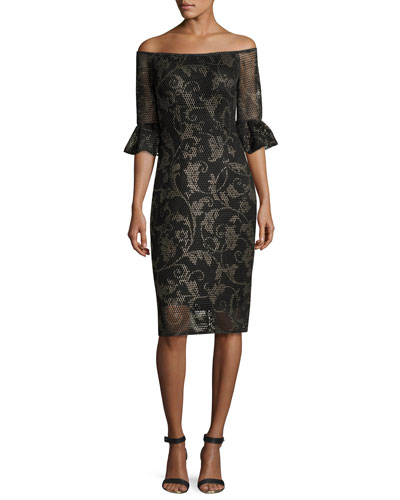 Off-the-Shoulder Printed Mesh Cocktail Dress, Black