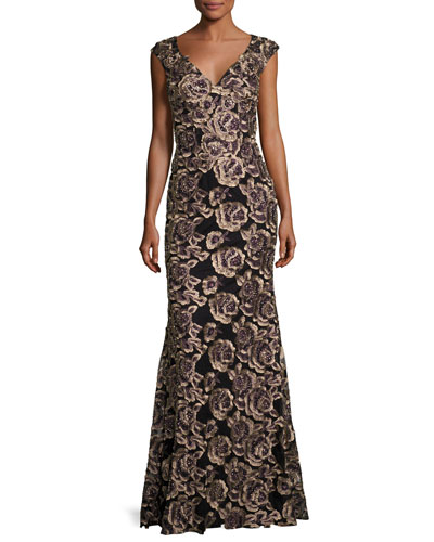 Cap-Sleeve Embroidered Rose Gown, Black/Gold