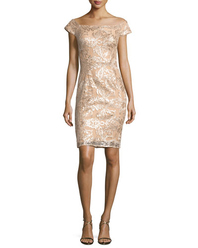 Off-the-Shoulder Embellished Lace Cocktail Dress, Champagne