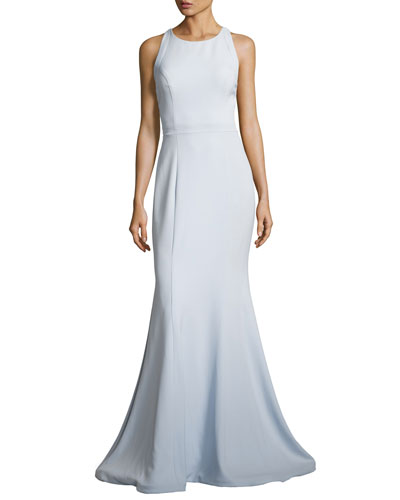 Sleeveless Stretch Crepe Cross-Back Mermaid Gown, Blue