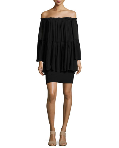 Waterfall Off-the-Shoulder Long Sleeve Dress, Black