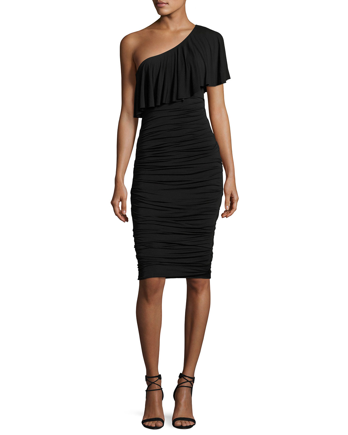Barbados One-Shoulder Ruched Cocktail Dress, Black