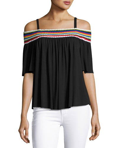 Guava Off-the-Shoulder Embroidered Top, Black