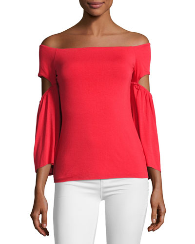 White Bay Off-the-Shoulder Top, Red