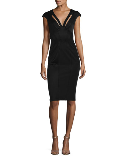 Joni Cap-Sleeve Bodycon Cocktail Dress, Black