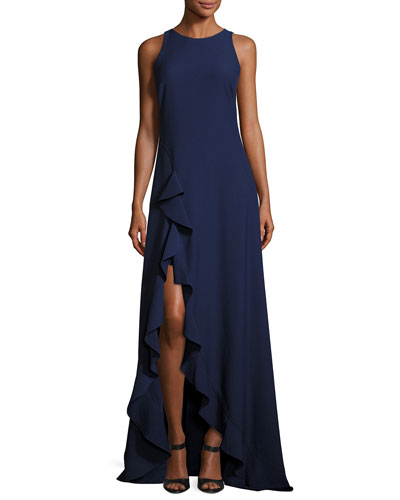 Janice Sleeveless Ruffle-Trim Stretch Crepe Gown, Blue