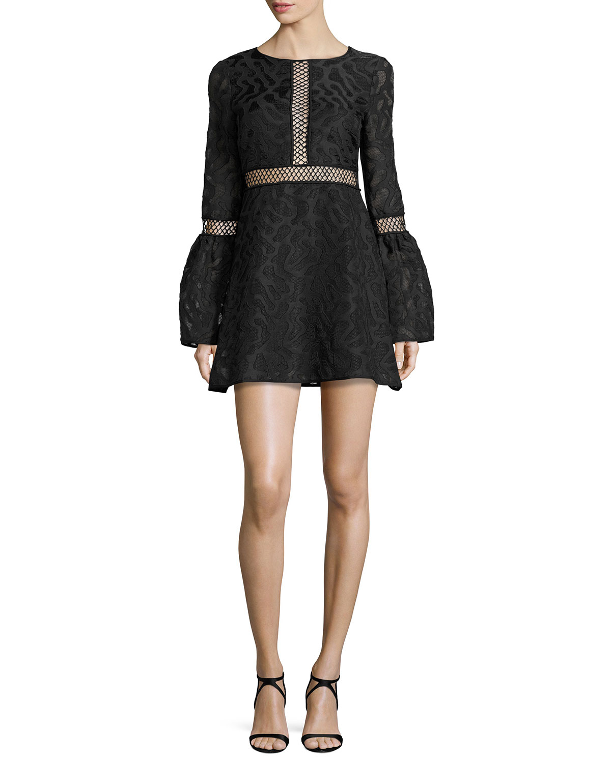 Zanya Long-Sleeve Jacquard Cocktail Dress, Black