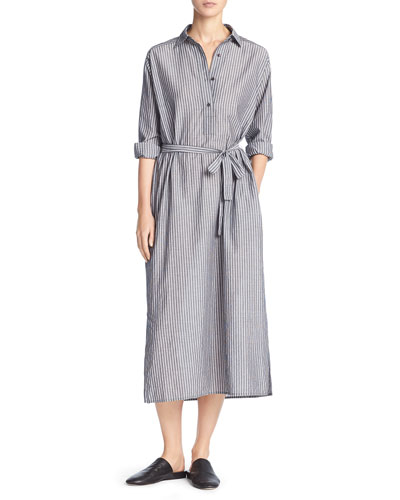 Double-Stripe Midi Shirtdress, Black/Off-White