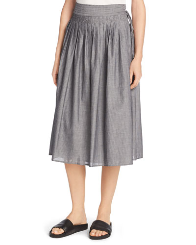 Fine Stripe Midi Wrap Skirt, Black/Off-White