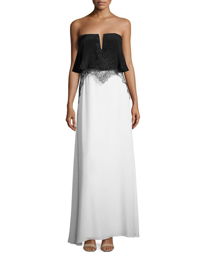 Gigi Sleeveless Embroidered Silk Colorblock Gown, Black/White