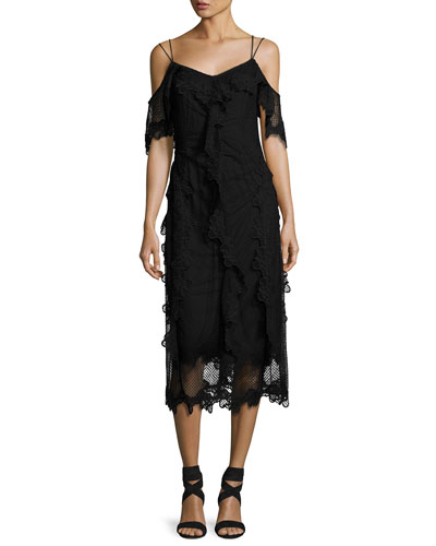 Lucinda Cold-Shoulder Ruffle Lace Sheath Dress, Black