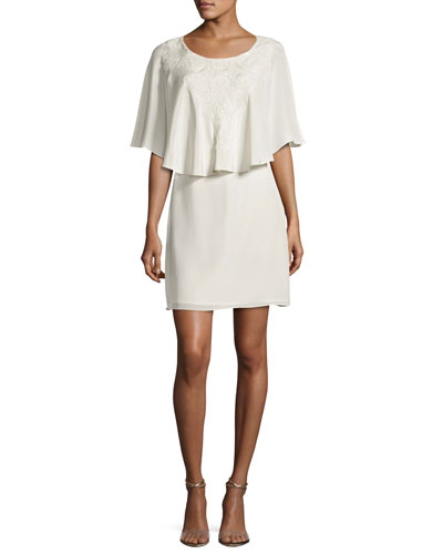 Zena Embroidered Silk Crepe de Chine Cocktail Dress, Ivory