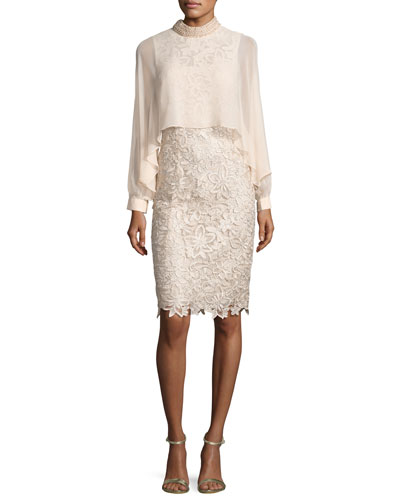 Long-Sleeve Floral Lace Cocktail Dress, Champagne