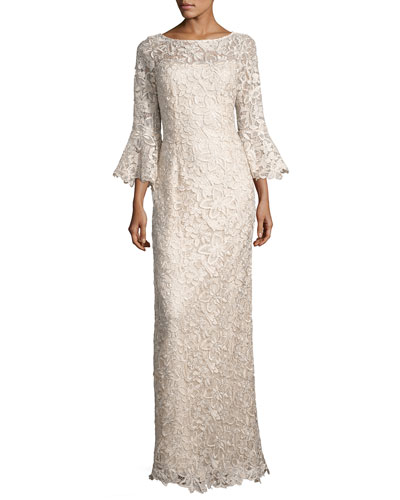 Bell-Sleeve Floral Lace Column Gown, Champagne