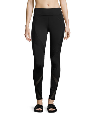 Spire Mesh-Panel Performance Leggings, Black