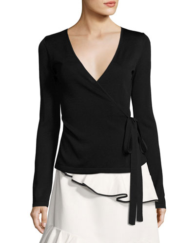 Hilary Long-Sleeve Stretch Faux-Wrap Top, Jet