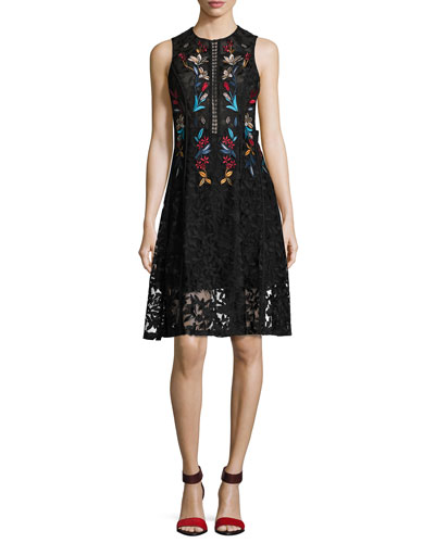Dewdrop Sleeveless Floral Lace Cocktail Dress, Black