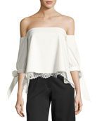 Finale Off-the-Shoulder Stretch Ottoman Top, Ivory