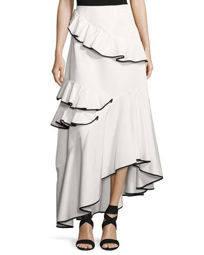 Helena Asymmetric Ottoman Maxi Skirt, Ivory