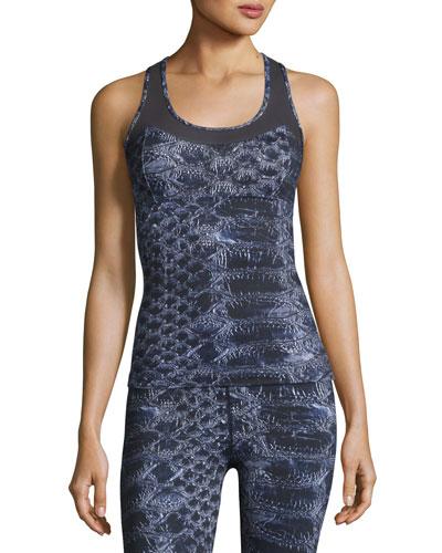 Vidora Vest Sleeveless Printed Top, Blue
