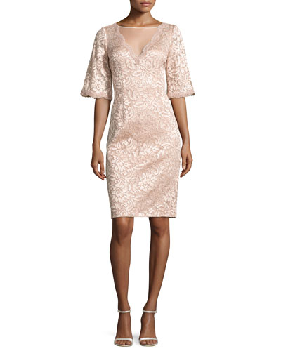 Short-Sleeve Floral Lace Cocktail Dress, Blush
