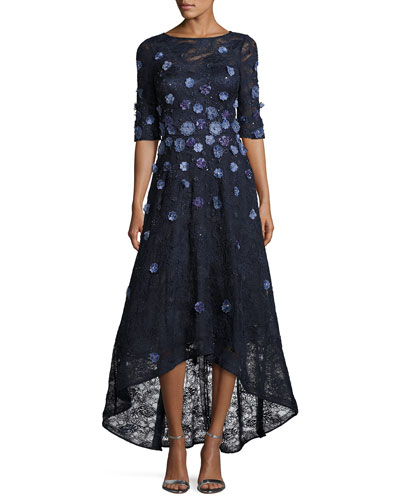 Floral Lace High-Low Cocktail Dress, Navy