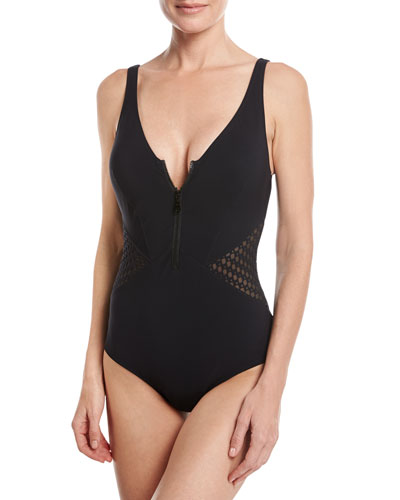 Monte Carlo V-Neck One-Piece Swimsuit, Black