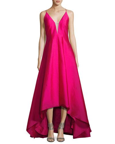 Sleeveless High-Low Taffeta Gown, Fuchsia