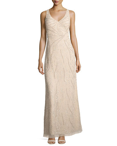 Sleeveless Beaded Tulle Gown, Champagne
