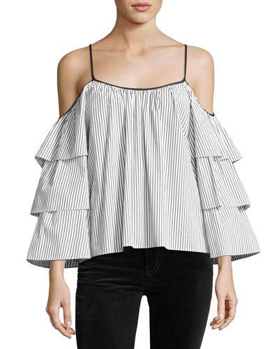 Marielle Tiered-Sleeve Striped Blouse, White/Black
