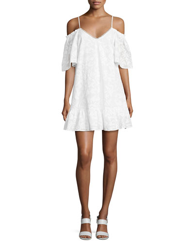 Gretchen Cold-Shoulder Shift Dress, White