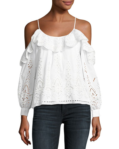 Maureen Combo Embroidered Eyelet Blouse, White