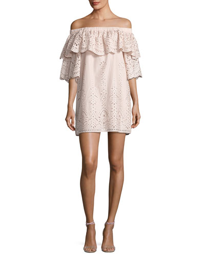 Cathy Eyelet Off-the-Shoulder Dress, Blush