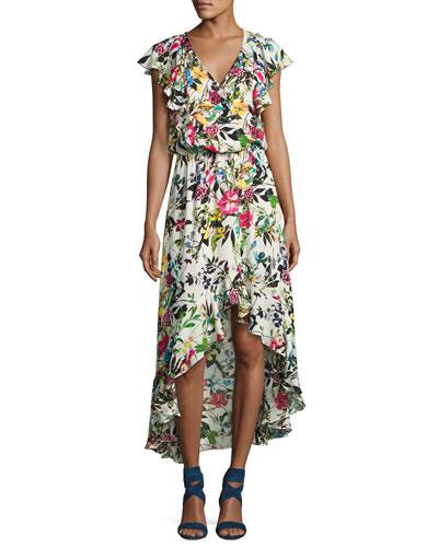 Constance Flutter-Sleeve Floral Blouson Dress