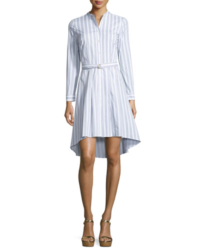 Bengal-Striped High-Low Shirtdress, White